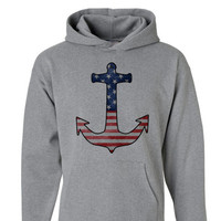 American Anchor Sailor Hoodie | 4th of July Shirt | Fourth of July | 4th of July Pullover Fourth of July Navy Mens Womens