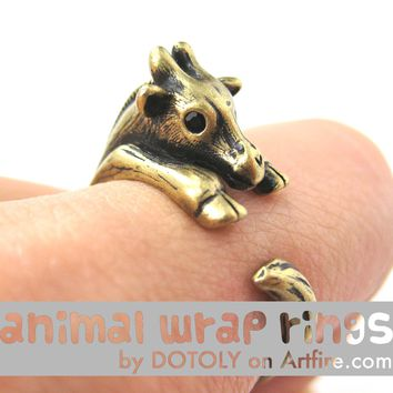 Baby Giraffe Animal Wrap Around Ring in Brass - Sizes 4 to 9 Available