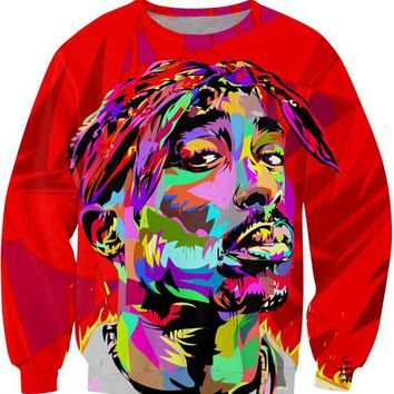 Alisister autumn men/women's 3D pullover hoodie print color painting tupac sweatshirt long sleeve crewneck casual sweat shirt