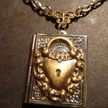 Steampunk Locket Necklace with Heart Lock