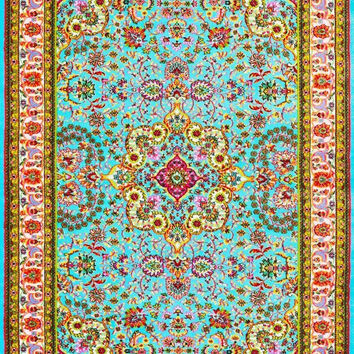 3045 Blue Colorful Isfahan Oriental Area Rugs