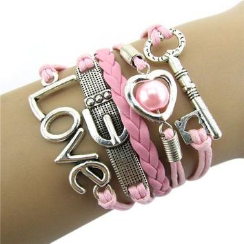 CREYV2S Bestpriceam Fashion Infinity Heart Pearl Love Key Leather Alloy Charm Bracelet Pink