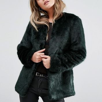 New Look Collarless Faux Fur Coat at asos.com