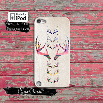 Deer Antler Tribal Pattern Cute Vintage Hunting Camo Case iPod Touch 4th Generation or iPod Touch 5th Generation Rubber or Plastic Case