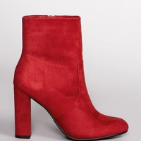 Twiggy Booties - Red Suede