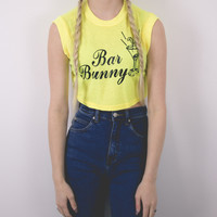 "Vintage Deadstock ""Bar Bunny"" Cropped Tank Top Shirt"