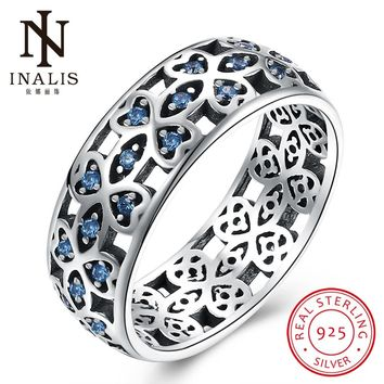 INALIS Authentic 100% 925 Sterling Silver Hollow Heart Ring with Blue Zircon CZ Clear Color Women Wedding Jewelry Mother's Day