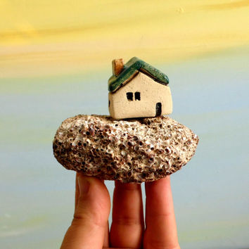 Holidays sale Shabby chic ceramic sculpture , Miniature house on Mediterranean beach stone , Beach art , Little rustic beach cottage miniatu