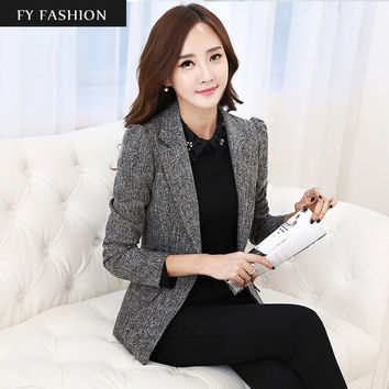 2016 Autumn New Women Slim fit Coat Fashion Casual Jacket One Button Small Suit Ladies Blazers Work Wear