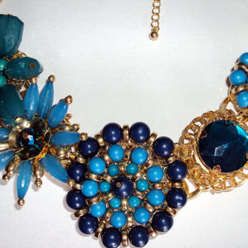 Stunning Teal and Royal Blue Bib Statement Necklace and Earring Set