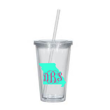 State Acrylic Tumbler, Monogrammed Acrylic Tumbler-Double Walled Tumbler-Personalized Tumbler,Monogrammed Tumbler 16oz- clear lid and straw