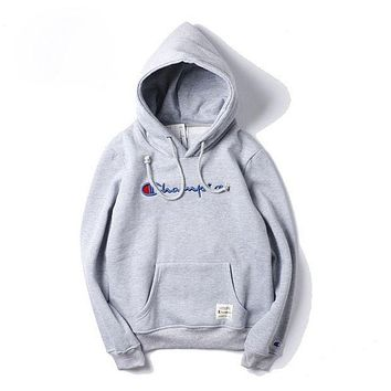 Champion Fashion Drawstring Embroidery Long Sleeve Sweater Pullover Hoodie Top