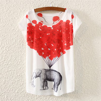 White Short Sleeve Elephant & Balloon Print Top