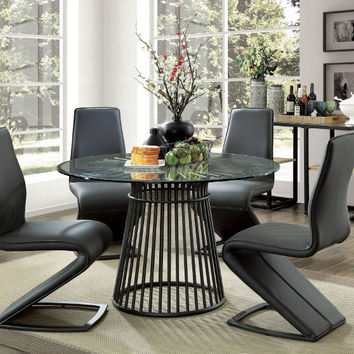 "Furniture of america CM3919RT-5PC 5 pc Dowdale modern 48"" round glass table top dining table set"