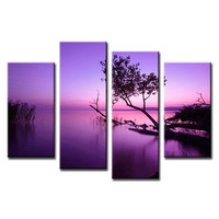 4Pcs/Set Landscape Canvas Paintings Purple Lake Picture Wall Decor HQ Printed Canvas Pictures (Frame:No)