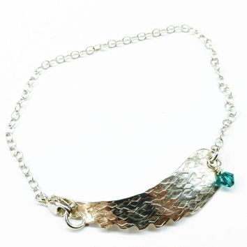 Sterling Silver Angel Wing Crystal Charm Bracelet