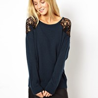 ASOS Lace Shoulder Jumper at asos.com