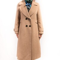 2018 Two-Sided Pure Cashmere & Wool Military Style Hand-Stitched Long Coat