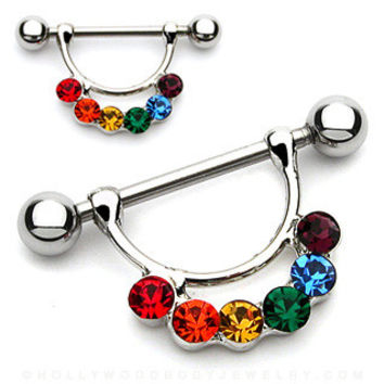 Rainbow Gem Nipple Barbell Surgical Steel Nipple Shield Nipple Rings 14ga Body Jewelry