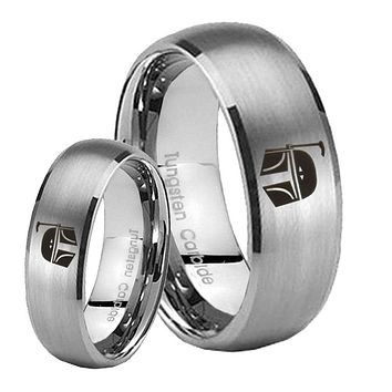 His Her Satin Silver Dome Star Wars Boba Fett Sci Fi Science Tungsten Wedding Rings Set