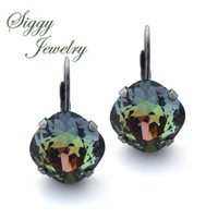 Swarovski Crystal Tabac Earrings, 12mm Cushion Cut, Drop Lever Back Or Studs, Charcoal, Gold Hues, It is on FIRE!  Assorted Finishes