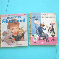 2 Vintage Little Golden Books: Lucky Mrs. Ticklefeather + Party In Shariland; Cute Colorful 1930s-1950s Illustrated Children's Books