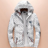 LV Louis Vuitton 2018 autumn and winter new tide brand fashion hooded pullover jacket F-A00FS-GJ White