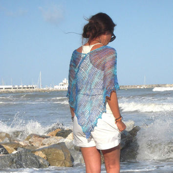 linen hand dye, summer knit, linen poncho, blue linen shawl, hand knit poncho, beach wear, loose knit, linen knitted