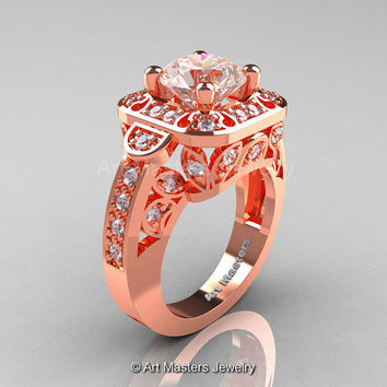 Art Masters Classic 14K Rose Gold 2.0 Ct Morganite Diamond Engagement Ring Wedding Ring R298-14KRGDMO