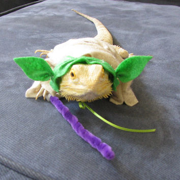 Handmade Felt Bearded Dragon Yoda Costume with Lightsaber