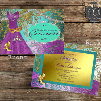 Purple and Teal Quinceanera Invitation,Sweet 16 Invitation,Quinceanera invites,Quinceanera invitación printable,Bling Invitation,