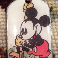 Walt Disney's Classic Mickey Mouse Dog Tag Necklace
