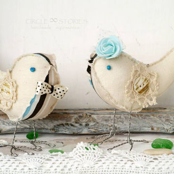 Handmade fabric birds Couple birds Soft figurine Valentines day gift Nursery boy room OOAK handmade Blue ivory decor Baby gift Love birds