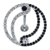 .925 Sterling Silver CZ Yin Yang Reverse Dangle Belly Button Ring Shield at FreshTrends.com
