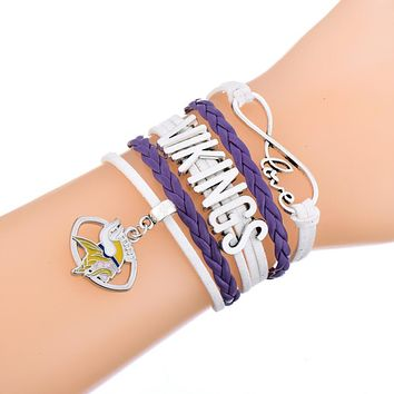 Minnesota Vikings Charm Leather Rope Bracelet Jewelry for Men and Women Jewelry