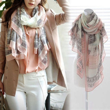Fashion Women Long Print Cotton Large Silk Scarf Wrap Girls Ladies Scarf Shawl (Size: 160cm by 80cm) = 1958018948