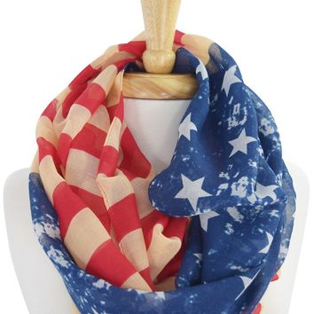 Vintage Design American Flag Stars and Stripes Infinity Scarf