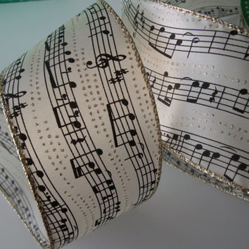 5 YARDS,Decorative Ribbon,  Ivory with Black Musical Notes and Gold Wired-edged,Bows,Gift Baskets,Wreaths,Florals