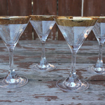 Vintage Set of Four (4) Gold Rimmed Cocktail Glasses with Etched Imprinting