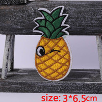 2016year New arrival 1PC pineapple summer Iron On Embroidered Patch For Cloth Cartoon Badge Garment Appliques DIY Accessory