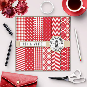 Red Digital Paper Red Scrapbook Paper Red Chevron Red Polka Dot Herringbone Red Gingham Houndstooth Hearts Pattern 12x12 Commercial Use