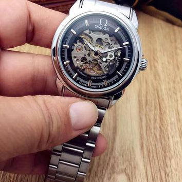 PEAP O004 Omega Hollow Automatic Mechanical Steel Watchaband Watches Black Sliver