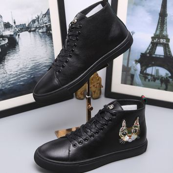 Gucci Fashion Cat head Embroidery Leather High top Sneaker