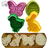 4PCS Easter Day Biscuit Plunger Cutter Plastic Mold Decorating Sugar Craft Gum Paste Tools Cupcake Kitchen Cookie Icing Mould