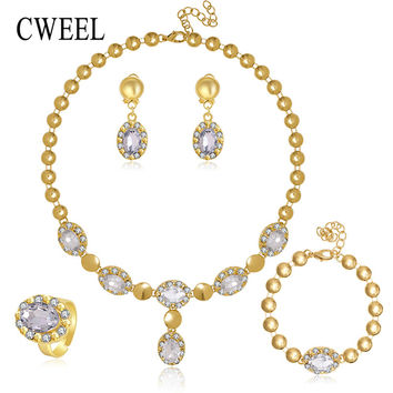 Sapphire Beads Collares Jewelry Sets For Women Fine Accessories Wedding Bridal Pendant Statement CZ Diamond Necklace Earrings
