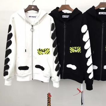 HCXX OFF WHITE ZIP UP HOODIES