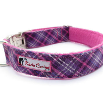 Purple & Pink Plaid Dog Collar w/ Soft Fleece by theKozieCanine