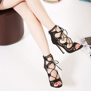 Lace Up Cut Out Women's High heel Ankle High Sandals Gladiator 5 Colors