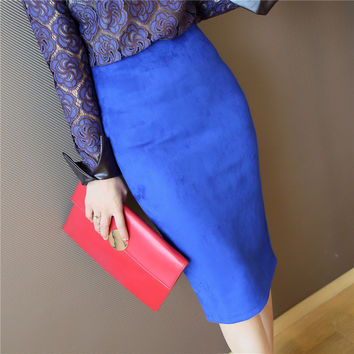 2016 Women's Spring Autumn Leather Suede Pencil Skirt Fashion Slim Elastic Hip Step Midi Women Skirts Female