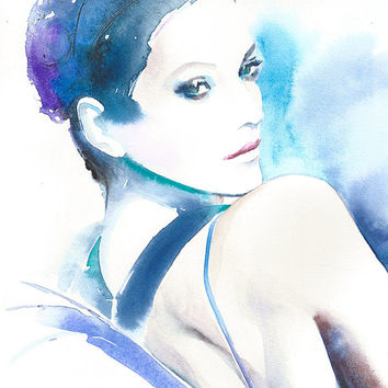 Original Watercolour Painting. Watercolor Portrait. Titled: Marion Cotillard Jalouse Magazine. Free Shipping